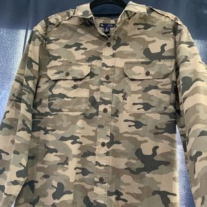 Camouflage button down long sleeve field shirt.